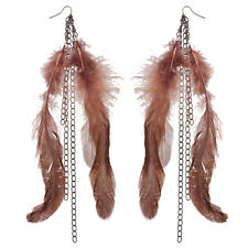 Lux Accessories Hematite and Brown Boho Textured Feather Chain Dangle Earrings