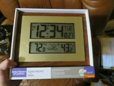 Atomic Clock with Weather Forecast Wireless Outdoor Temperature Wall or Desktop