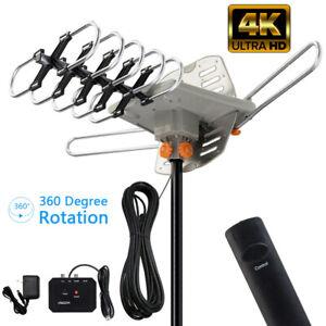 990 Mile Outdoor TV Antenna Motorized Amplified V/UHF HDTV 1080P 4K 360° Rotate