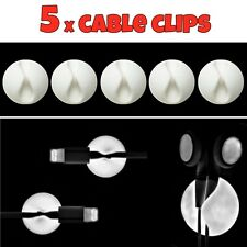 5 x White Cable Wire Cord Lead Drop Clips Usb Charger Holder Tidy Desk Organiser