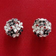 Boucles d'oreilles plaqué or blanc bouquet fleurs cristal email noir et blanches