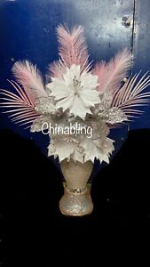 WHITE SILVER ROMANY 30cm VASE WITH FLOWERS SILVER CRUSH PEARL PINK FEATHERS
