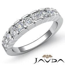 Round Channel Set Diamond Womens Half Wedding Band Ring 18k White Gold 0.65Ct
