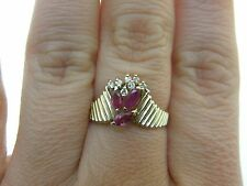 Estate Gorgeous Natural Ruby & Genuine Diamonds Solid 14K Yellow Gold Ring