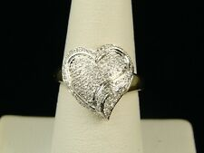 10K Ladies Womens 15 Mm Diamond Engagement Heart Ring