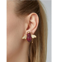 Unique 925 Yellow Gold Plated Silver With Fine 8.15CT Ruby & CZ BEE Stud Earring