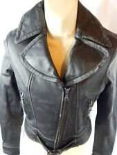 Nos Express Black Leather Moto Motorcycle Jacket Coat Biker Belt Punk XS