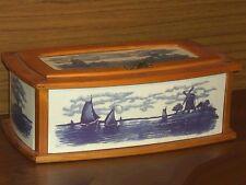 großer Brotkasten, Keramik mit Holzeinfassung, Hollandmotiv, 45 x 26 x 18cm