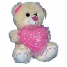 "Valentine's 8"" Teddy Bear Plush Stuffed Animal ""I Love U"" Pink Heart NEW"