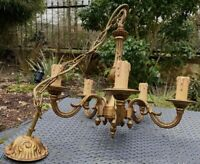 Beautiful French Antique Chateau Chandelier 5 lights Stamped Bronze