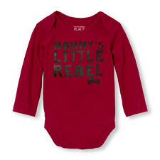 NEW Baby Boys Long Sleeve 'Mommy's Little Rebel' Graphic Bodysuit Size 18-24 Mos
