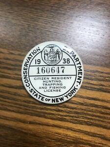 1938 ~New York Hunting & Trapping License Button NO RESERVE AUCTION