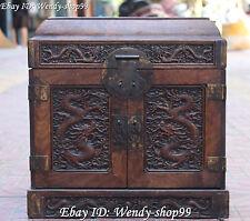 """16"""" Chinese Ancient Wood Dragon Dragons Roman Candles Treasure Box Box Statue"""