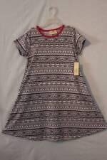 NEW Girls A-Line Dress Size Medium 7 - 8 White Black Patterned Pockets Summer