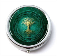 TREE OF LIFE GOLD AND GREEN DESIGN PILL BOX ROUND METAL -vgy6Z