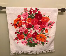 VTG FLORAL poppies rose BATH TOWELS MOD mid century orange red pink terry cloth