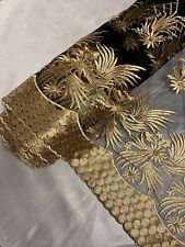 "3 MTR BLACK/GOLD SCALLOPED BORDER EMBROIDERY PEARL BEADED BRIDAL FABRIC 52""WIDE"