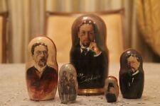 "Chejov famoso escritor ruso muñeca rusa apilamiento anidación muñeca 5pc"" 7"