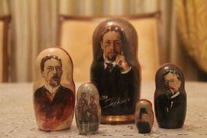 "Chekhov Famous russian writer russian doll Anton Chekhov nesting doll 5pc ""7"
