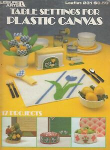 Leisure Arts Table Settings for Plastic Canvas - 1982 - four sets of designs