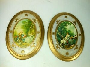 Pair Italian Gilded Wood Scenic Wall Plaques Classical Motif