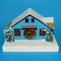 Vintage Old Mica Covered Turquoise Christmas Putz House with Wreath Trees Japan