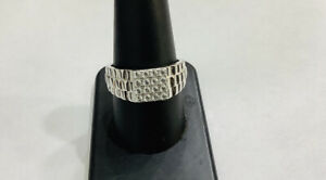 Sterling Silver, Diamond ,  Textured Design ,Men's Ring Size 12