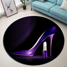 Yoga Carpet Non-slip Round Purple Heels Lipstick Area Rug Room Floor Bath Mat