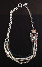 NIB Juicy Couture New Genuine Silver & Gold Multi Layered Butterfly Necklace