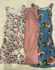 Lot of 3 Summer Maternity Tank Dresses Size Small/S Pink Floral, Mauve, Blue