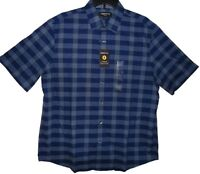 Claiborne Titan Blue Plaid Dress Shirt Men's Button Down Size Large New