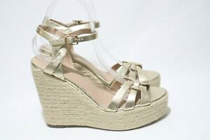 FOREVER NEW Size 9 Womens Gold Color Open Toe Mule Straps Espadrille Wedge