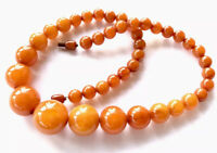 Vintage Graduated Butterscotch Amber Bakelite 20 Inch Bead Necklace 55g