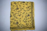 Ethnic Dupatta Long Stole Chiffon Silk Yellow Scarves Hand Beaded Veil L""