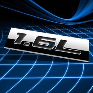 METAL 3D EMBLEM DECAL LOGO TRIM BADGE STICKER POLISHED CHROME BLACK 1.6L 1.6 L