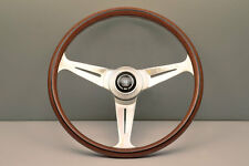 NEW NARDI CLASSIC WOOD STEERING WHEEL W/ POLISHED SPOKES & HORN BUTTON 390MM