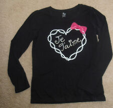 THE CHILDREN'S PLACE Girl's Je Taime Black White Pearls L/S T Shirt Top size XL