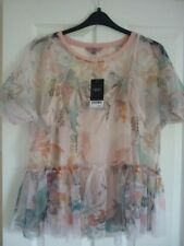 NEXT BLUSH MULTI FLORAL& BIRD MESH TOP & CAMISOLE. UK 14, EUR 42, US 10. BNWT