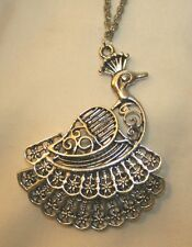 Delightful Lacy Layered Filigree Feathers Silvertone Peacock Pendant Necklace
