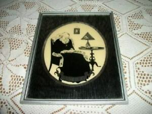 1920s REVERSE GLASS SILHOUETTE OLD WOMAN MOTHER MIRROR STRIPE MAT WOOD FRAME