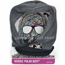 Buff Hood Polar Fleece Headwear Neck Warmer , Black