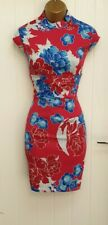 Karen Millen Oriental Chinese Red Blue Wiggle Pencil Occasion Dress UK 10