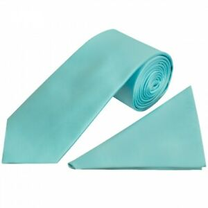 Tiffany Blue Satin Classic Men's Tie and Pocket Square Set Wedding Normal Tie