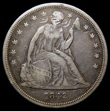 1842 Seated Liberty Dollar, Discounted off-quality VF, Classic Type Coin 1214-17