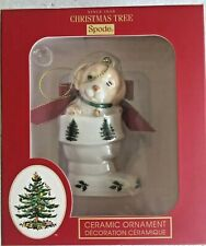 Spode Ceramic Puppy in stocking Christmas tree Ornament. NIB