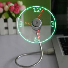 New USB Gadget Mini Flexible LED Light USB Fan Time Clock Desktop Clock Cool