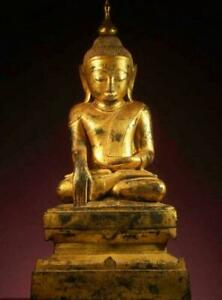 """BUDDHA: Antique Bhumisparsamudra, from Burma,1700s, Gilded Lacquer & Wood, 48"""""""