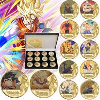 12pcs Dragon Ball Z Gold Challenge Coins Goku Vegeta Super Saiyan In Gift Box
