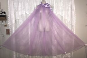 VTG 1 SZ XL+ LILAC HOLLYWOOD FULL SHEER CHIFFON W SATIN BOW TIES Nightgown Gown