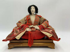 Antique Hina Ningyo Japanese Doll Sitting Wood Platform Stand